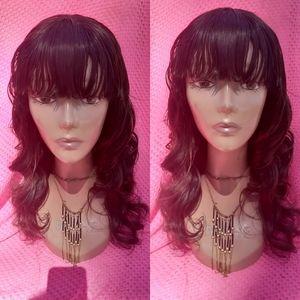 """14"""" deep wave human blend bang hair wig"""